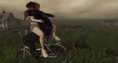 We Believe We Can Fly (Lil' Mersereau) Tags: bike fly couple love red dog moment