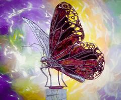 Iron Butterfly (Wes Iversen) Tags: burton formarnaturecenter formarnaturepreservearboretum hss michigan sliderssunday tamron150600mm wings butterflies colors ironbutterfly metal metalbutterfly texture sculpture