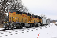 UP 1592 (Western WI Rail Images) Tags: up union pacific canadianpacific train clouds snow tracks trees grass locomotive