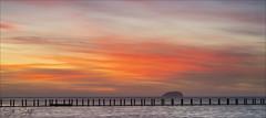 Brush Strokes...         (Explore 20th February 2019 #5) (Sue Sayer) Tags: weston causeway westonbay tidal sunset orange bridge steepholm outside water sky light clouds winter sea seascape