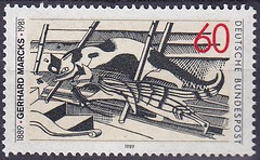 Deutsche Briefmarken (micky the pixel) Tags: briefmarke stamp ephemera deutschland bundespost kunst art holzschnitt gerhardmarcks bildhauer grafiker katzenimdachboden