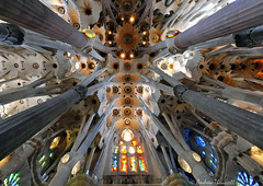 Sagrada Familia, Barcelona (manxmaid2000) Tags: church cathedral barcelona sagrada familia gaudi pillars columns spain window light architecture intricate support pillar ceiling basilica vault nave stainedglass glass rock granite tree branch