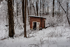 Abandoned Springhouse (pacc2008) Tags: winter springtonmanorfarm abandoned springhouse forest trees snow derelict chestercounty pennsylvania pa countypark canon 30d canonef1740f4l landscape hdrfromsingleraw ishootraw