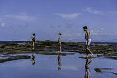 three reflections (Greg M Rohan) Tags: sky clouds blue reflectingreflections reflection people royalnationalpark southcoast australia nsw figure8pool saltwater sea ocean rock water d750 2018 nikon nikkor