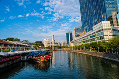 Clarke Quay in late afternoon (Thanathip Moolvong) Tags: clarke quay afternoon golden hour water sky singapore river
