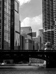 Marina City (kristenscotti) Tags: chicago chicagoland marinacity blackwhite bridge garage building architecture river water glass windows reflections shadows