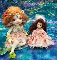 Little Rain found a friend (twilitize) Tags: doll dolls dolly dollphotography photography bjd bjdphotography bjddoll fairyland dollfairyland realfee elf sea elves white skin sweet adorable cutie red hair eyes