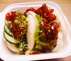 bun of each (n.a.) Tags: chicken pork belly fried buns chinese food cabbage chilli closeup streetfood street london spring onions sesame seeds scallions