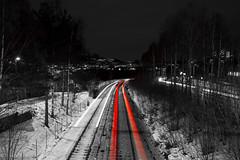 Haugerud (morten f) Tags: haugerud oslo stasjon tbane bane lys trail light subway norway norge winter 2018 vinter snow red white groruddalen