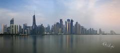 Doha Cityscape (Nabeel Iqbal) Tags: doha cityscape corniche cornish qatar canon 6d 1740mm 85mm long exposure sunrise seascape building architecture arab clouds colors