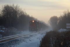 Kicking Up Snow (recekasten) Tags: cn railroad ns signals wisconsin neenah medina junction 446 zebra beast eje bnsf