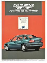 1994 Ford Escort LX Sedan (U.K. Ad) (aldenjewell) Tags: 1994 ford escort lx sedan uk ad