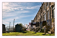 Washing day in the Pennines (david.hayes77) Tags: marsden yorkshire westyorkshire 2019 winter plains washing terraces terracehouses laundry contrejour community backlight backyard gardenshed greenhouse northerngrit yorkshirelife