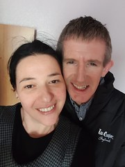 Happy People (sean and nina) Tags: sean nina serb irish couple married husband wife male female indoor inside people persons smile teeth dents pink lips brown hair long short brunette face smiling happy laughing two twosome head ears neck skin blue eyes beauty beautiful gorgeous stunning charm charming expression selfie black clothes woman girl lady girlfriend fiancee man belfast december 2018
