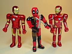 Bandai – Chogokin Heroes Series – Iron Man Mk 3, Deadpool & Iron Man Mk 50 – Front (My Toy Museum) Tags: bandai marvel heores diecast chogokin action figure iron man deadpool