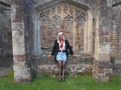 Chilled at Cleeve Abbey (emmalouise tgirl) Tags: emma emmalouise tgirl tranny trans blonde miniskirt