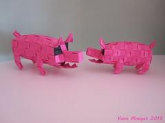 Cochon (Origaiku) Tags: origami modulaire modular cochon pig pixelunit