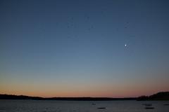 Moon (YasmineP) Tags: moon lune sky ciel morning matin sunrise birds oiseaux animals animaux vol belgium belgique lac lacsdeleaudheure canon eos 7d canoneos7d water eau paysage froidchapelle hainaut nature 18mm barrage
