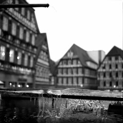 Water to Ice (irgendwiejuna) Tags: hasselblad calw germany blackandwhite oldhouses framework mediumformat 6x6 nopeople noedit winter ilfordfilm ilfordhp5 ilford water ice houses architecture badenwürttemberg