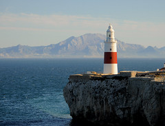 Lighthouse (·Ben·) Tags: lighthouse gibraltar europe africa continent strait straitofgibraltar mountains morocco blue contrast 2016 nikon d90 nikond90