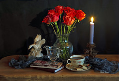 Still Life With Roses (mevans4272) Tags: life still candlelight books cup roses vintage rustic