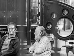 Old Friends (david feld) Tags: people park blackandwhite city newyork bronx playground