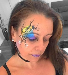 Halloween face art (Claudia M15) Tags: facepainting colourfulface makeup faceart owl web spiderweb facepaint face halloween