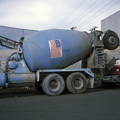 Blue truck (ADMurr) Tags: la eastside cement truck blue american flag tires wires sky fuji chrome slide film hasselblad 500 80mm zeiss planar square 6x6 aab498
