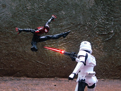Miles Vs Stormtrooper (Demarcation Media) Tags: toyphotographers toyphotography superheroes spider spiderman starwars starwarsblackseries stormtrooper marvel marvellegends demarcationmedia actionfigure actionfigurephotography