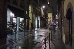 . (Le Cercle Rouge) Tags: lyon france night nuit darkness light rain pluie human shadow silhouette reflection croixrousse