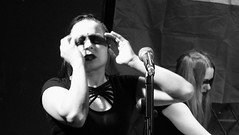 Event Horizon March 2019 023 (byronv2) Tags: music musician woman women makeup stage band krow krowandtheelectrictemple goth gothic punk electro blackandwhite blackwhite bw monochrome dance shorelineofinfinity eventhorizon edinburgh edimbourg scotland frankensteins georgeivbridge