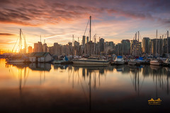 Stanley Park Marina (erwin.delfin_photography) Tags: boats yachts stanley park stanleypark vancouver mustbevancouver landscapes seascapes waterscape reflections fiersky sunrise orangesky beautifulbritishcolumbia beautifulvancouver marina