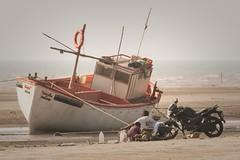 Fishing Boat and Bike (iamfisheye) Tags: 300mm vr february nikon f4 modhvabeach india d500 naturetrek xqd afs tc14iii pf 2019 gujarat raremammalsandbirdsofgujarat