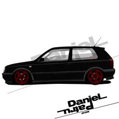 Volkswagen Mk3 (Daniel_Patru) Tags: volkswagen volkswagengolf vw golf 3 golf3 mk3 low red black gti golfgti danielpatru illustrator photoshop adobe artwork car static