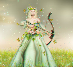 The lady and her bow... (Purrilicious) Tags: fantasy arwen movie enchantment spring flowers gown medieval roleplay irrisistible shop clothes dress mesh outfit costume headpiece secret garden maitreya belleza slink hourglass fancy necklace