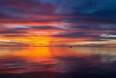 Tie Dye Sunset (~gio~) Tags: floridakeys florida fiestakey conchrepublic sunset tiedye colorful sailboat boat reflection symmetry pink yellow orange blue sky water sea floridabay