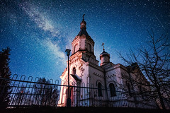 In the Darkness We See Farther (free3yourmind) Tags: church orthodox milky way starry night religion faith vision belarus stars dark st niholas nicholas