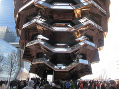 Vessel Stair Case Sculpture Dingus at Hudson Yards 4104 (Brechtbug) Tags: 2019 march visiting the vessel sculpture hudson yards tower near 34th street midtown manhattan new york city nyc 03172019 west side construction center cityscape architecture urban landscape scape view cityview shadow silhouette december close up skyline skyscraper railroad rail yard train amtrak tracks below grown stair stairs buildings above staircase dingus
