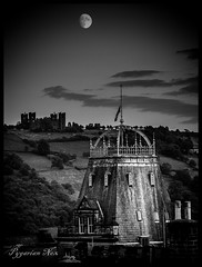 Hydro (pygarian_nox) Tags: monochrome moon hydro riber matlock castle derbyshire county council offices buildings