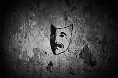 Mask (Staropramen1969) Tags: mask drawing graffiti abandoned bw monochrome maske zeichnung aufgegeben schwarzweis monochrom masque dessin abandonné noiretblanc