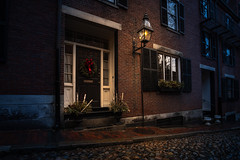 Acorn Street (Dan Fleury Photos) Tags: acorn boston bos old heritage cobble stone cobblestone road street building architecture light evening rainy wet rain brick home house
