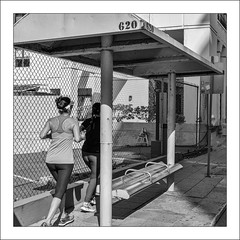 620 (Timothy Valentine) Tags: blackandwhite bench people busstop vacation monday 2017 0417 jogging silverefex sanjuan puertorico pr