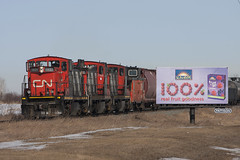 100% Goodness (Trevor Sokolan) Tags: gmd1 switcher local branch branchline fortsaskatchewan scotford vegrevillesub gmd emd diesel locomotive caboose stripes zebra freight alberta ab railway railroad railfan rail railfanning trains train trainspotting tracks billboard sign advertising canadian canada cn cnr canadiannational