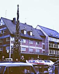 Ulm, Marktplatz and Fischkasten (zeesstof) Tags: 1969 35mmslidefilm kodachrome mamiya film geo:lat=4839660374 geo:lon=999347337 geotagged summerholiday zeesstofsmom city ulm germany fischkastenhistbrunnen fountain marketplace oldcity markt