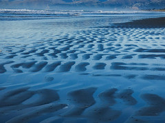 Blue Waters (Steve Taylor (Photography)) Tags: blue monocolor monocolour sand newzealand nz southisland canterbury christchurch northnewbrighton waves surf sea pacific ocean beach ripple pattern dawn