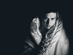 Keeping warm (V Photography and Art) Tags: son duvet afterwork chilling face monochrome fujifilmxt2