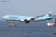 Korean Air (KE/KAL)/ 747-8B5 / HL7632 / 02-07-2019 / HKG (Mohit Purswani) Tags: seoul southkorea ke kal 747 7478 boeing boeing747 boeing7478 748 hl7632 hkg hkia clk vhhh hongkong jumbojet landing arrival finalapproach 25r civilaviation commercialaviation planes airlines aircraft aviaton flight canon 7d 10040 ahkgap