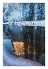 El Capitan, Sunrise (Appalachian Hiker) Tags: yosemite sunrise elcapitan mercedriver merced reflection river winter snow ice
