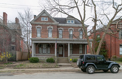 House — Lexington, Kentucky (Pythaglio) Tags: house dwelling lexington kentucky unitedstatesofamerica us residence historic twostory brick segmentalarched 11windows hoodmolds cornice dormer porch columns tuscan balustrade fayettecounty