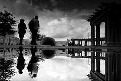 Napier (maekke) Tags: newzealand napier reflection puddlegram couple sky clouds architecture tourist fujifilm x100f 35mm bw noiretblanc streetphotography 2018 travelling pointofview pov